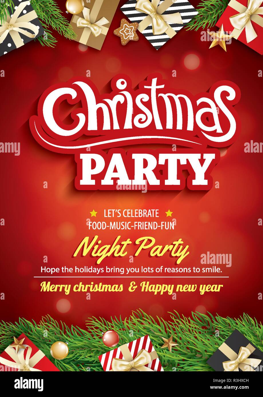 Merry Christmas Party And Greeting Card On Red Background