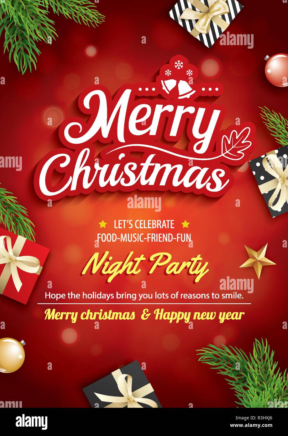 Merry Christmas Greeting Card And Party On Red Background
