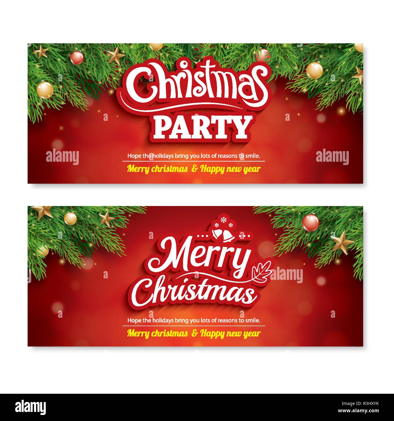 Merry Christmas Invitation Party Poster Banner And Greeting Card