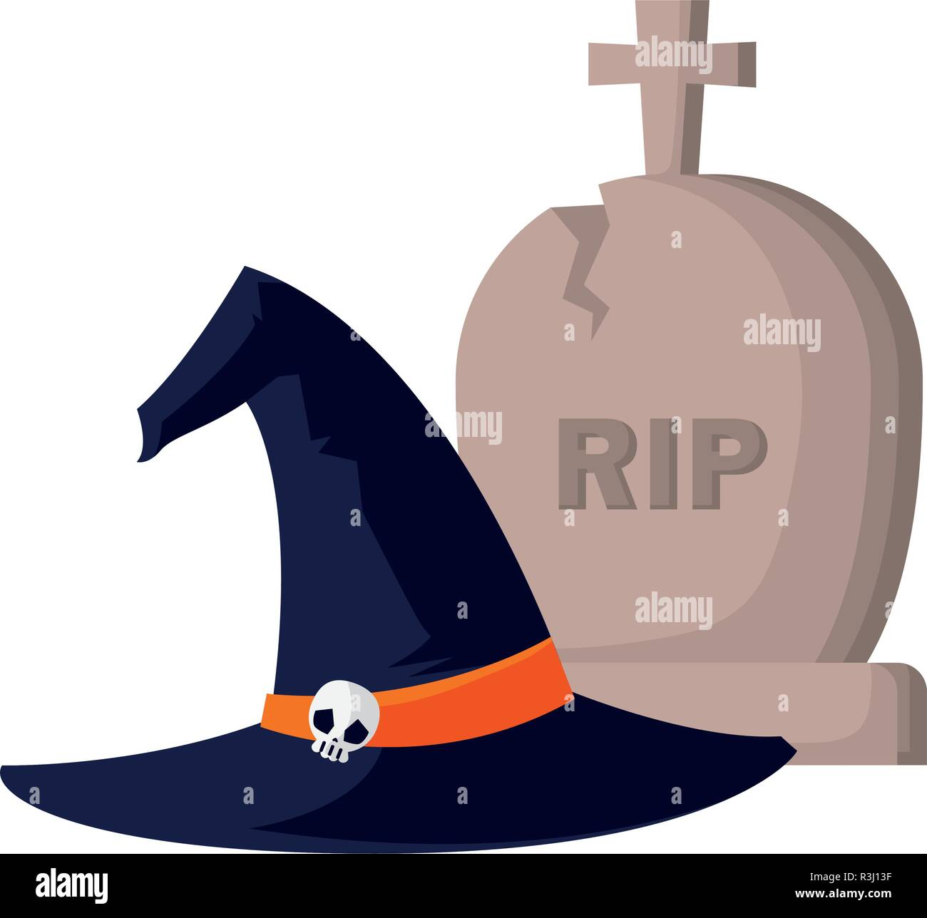 witch hat and grave happy halloween celebration vector illustration - Stock Vector