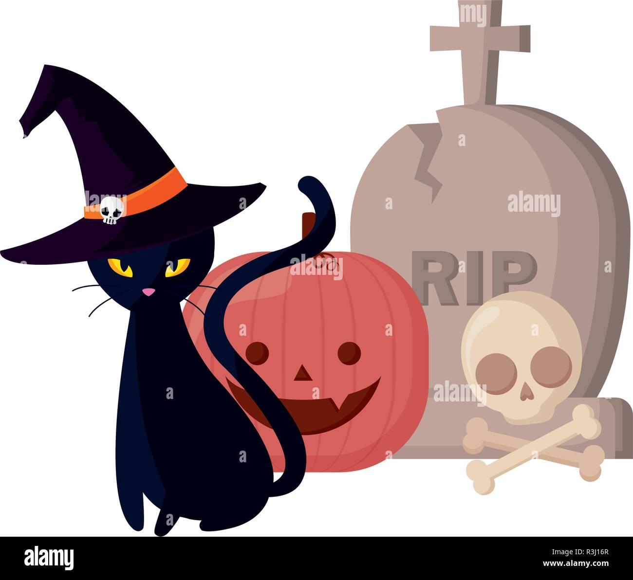 black cat and pumpkin gravestone skull halloween celebration vector illustration - Stock Image