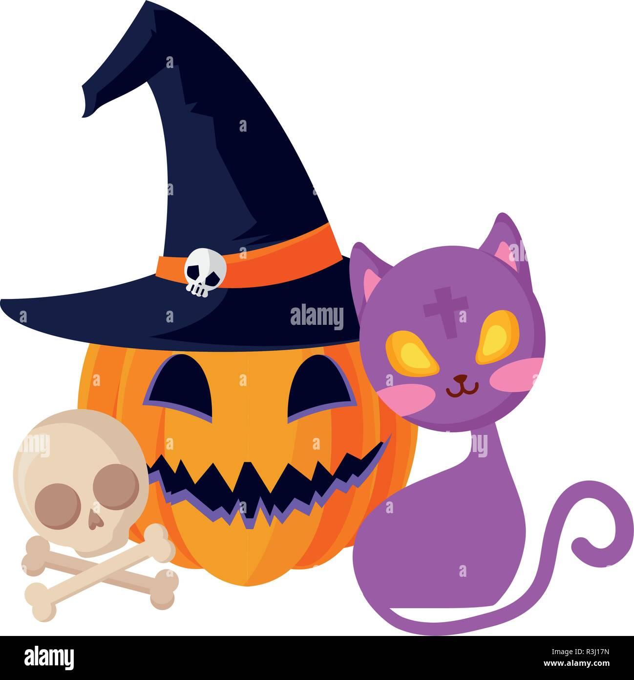 cat and pumpkin and skull halloween celebration vector illustration - Stock Image