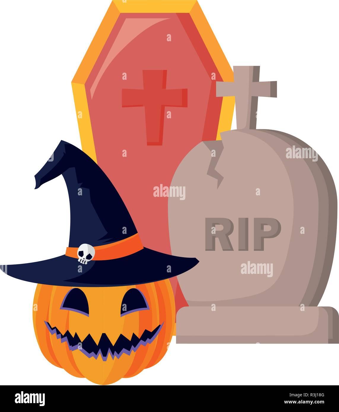 pumpkin grave and coffin halloween celebration vector illustration - Stock Vector