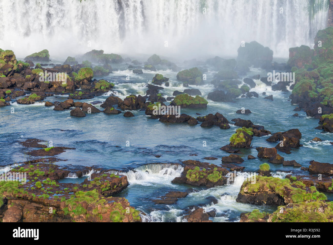 View of the Iguazu Falls from the Brazilian side, Foz do Iguacu, Parana State, Brazil - Stock Image