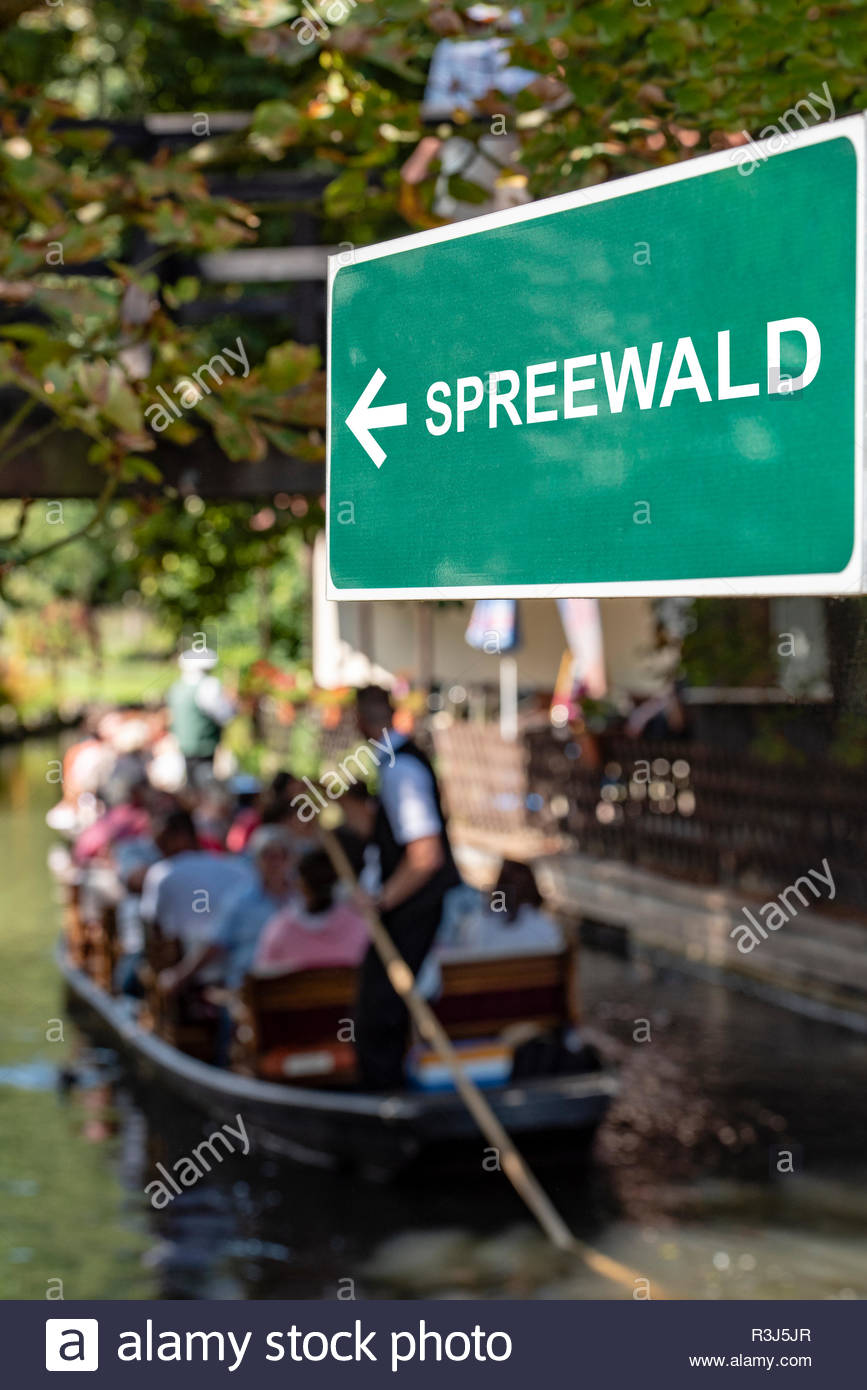 Ein Wegweiser im Spreewald - Stock Image