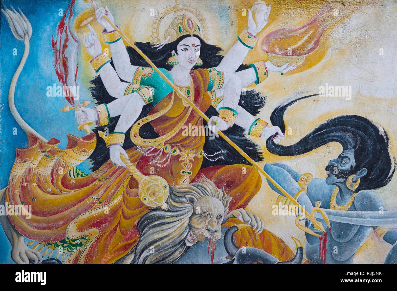 Wall Paintings Pashupatinath Temple Kathmandu Nepal Stock