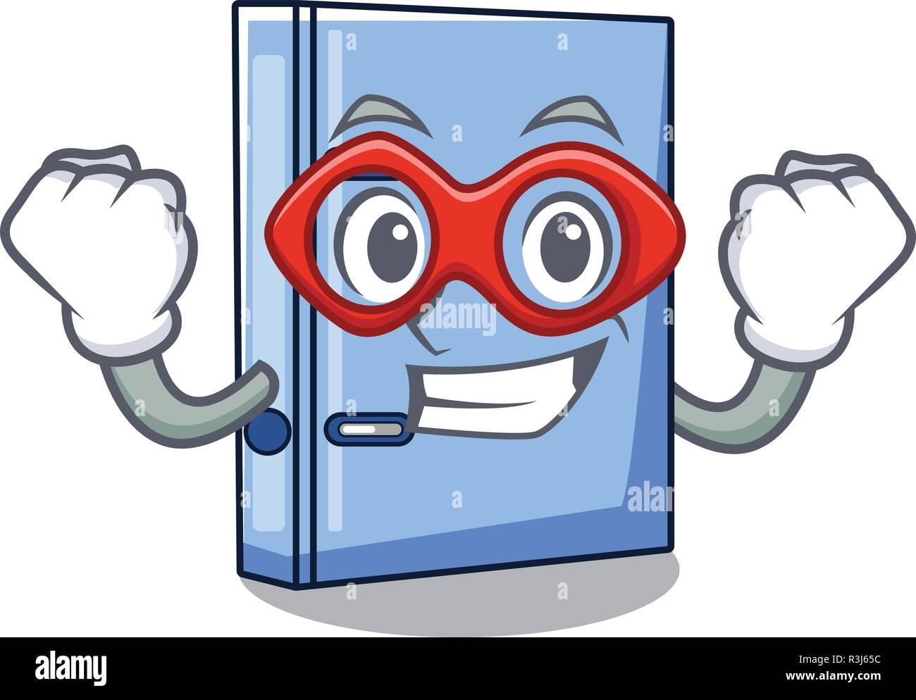Super hero office binder with file character funny - Stock Vector
