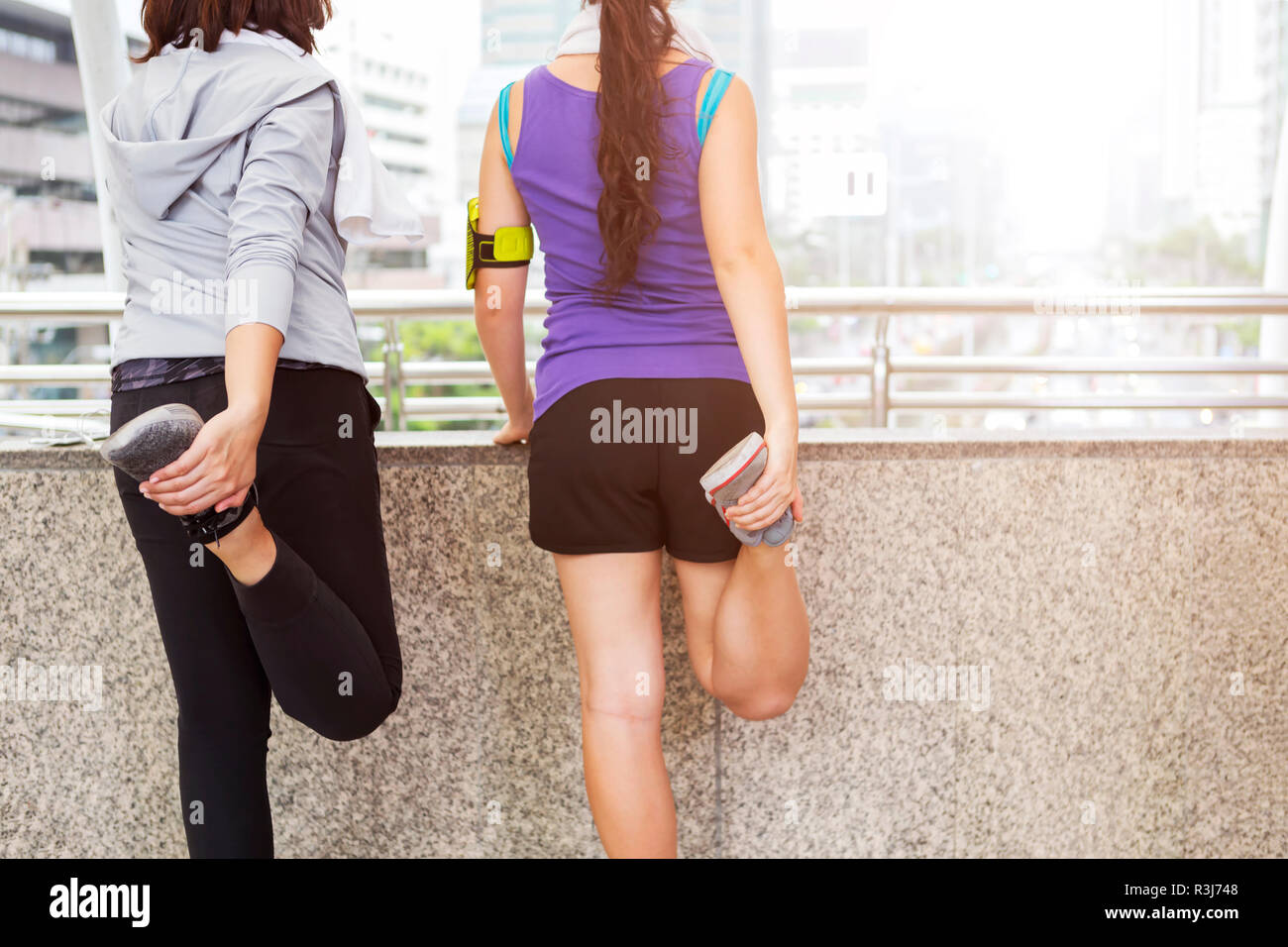 People workout and exercising in the morning. - Stock Image