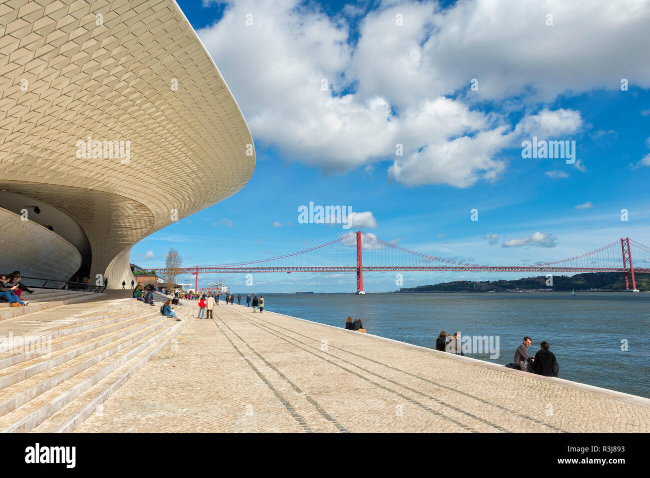 Ponte 25 de Abril bridge over the Tagus river, viewed from the MAAT, Museum of Art, Architecture and Technology, Lisbon Stock Photo