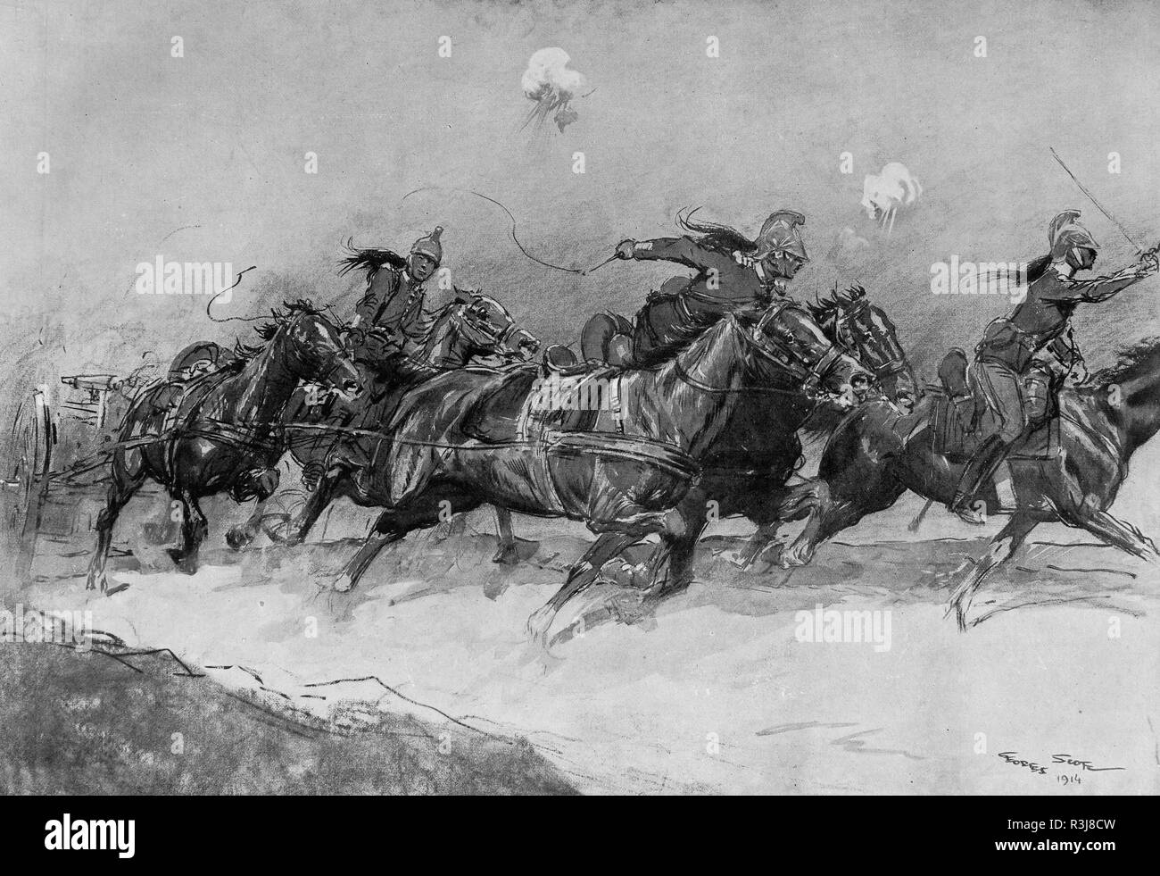 Dragons squadron charge, Illustration, October 1914, France - Stock Image