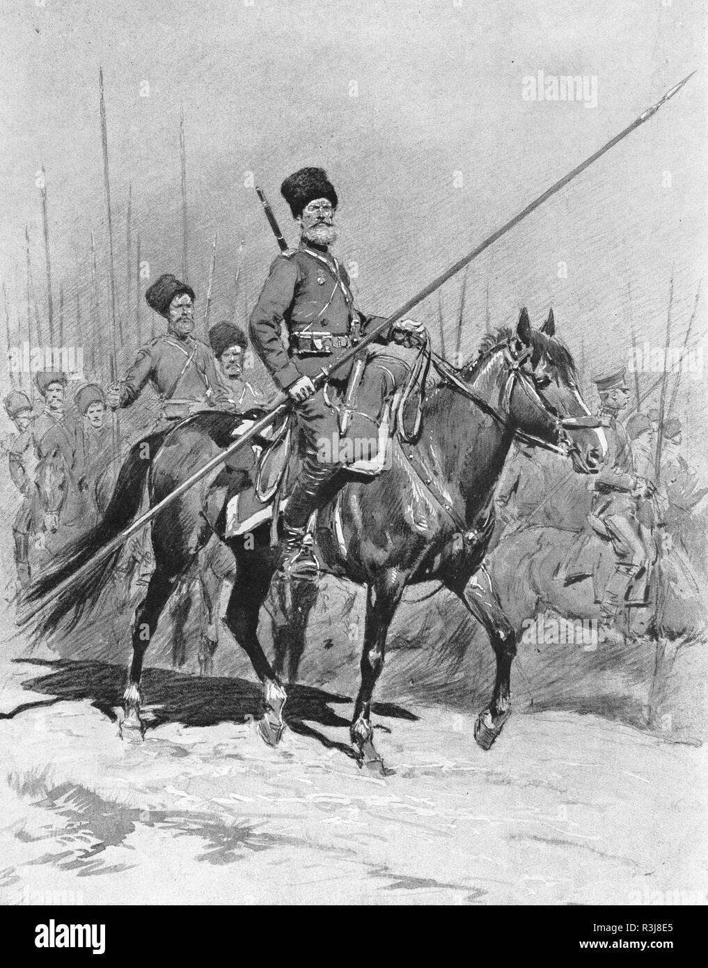 Cossacks cavalry, First World War, Russia - Stock Image