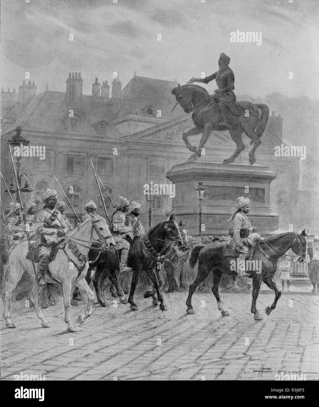 Bengal lancers parading in front of Jeanne d'Arc statue in Orleans, France - Stock Image