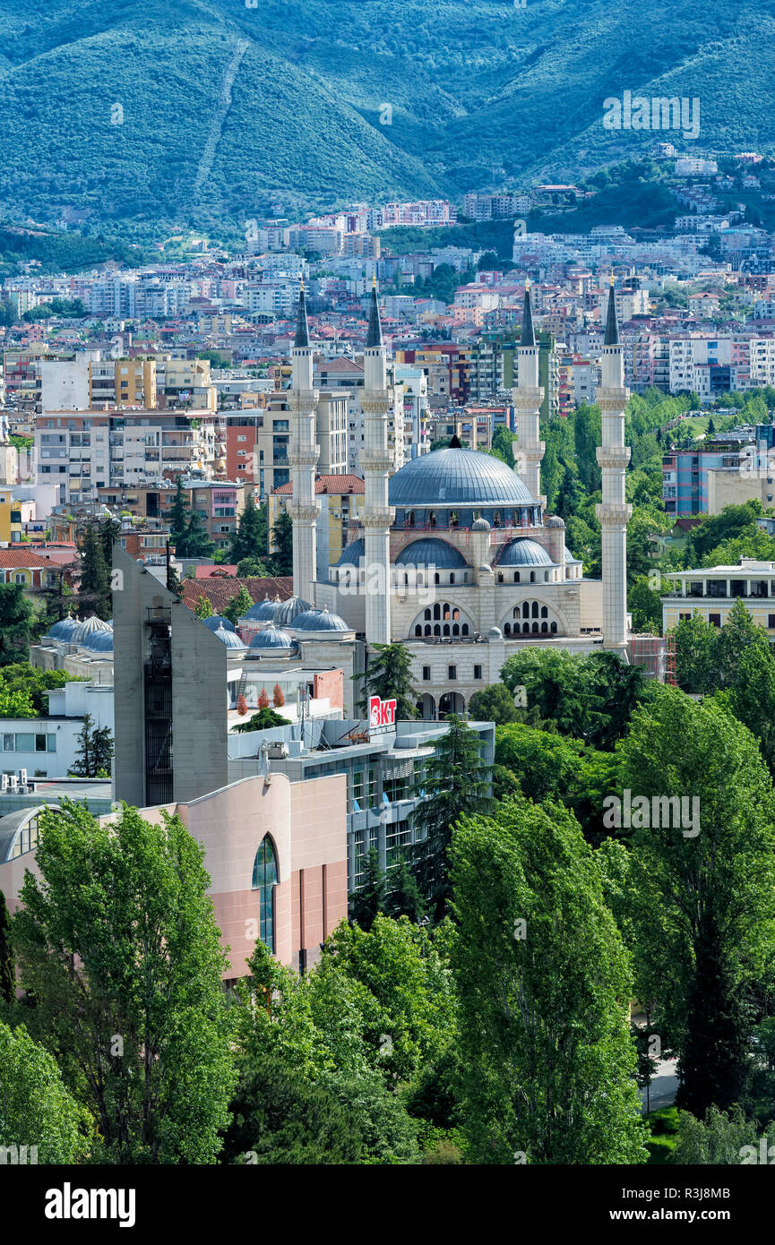View over Tirana and the new Mosque, Tirana, Albania - Stock Image