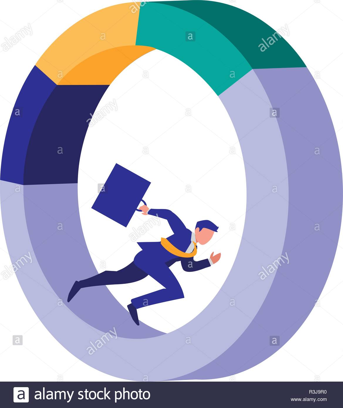Businessman with infographic design, Management corporate occupation and job theme Vector illustration - Stock Image