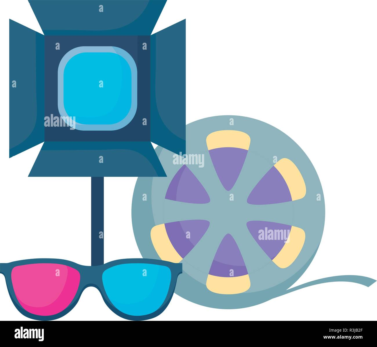 studio lamp with film roll and 3D glasses over white background, vector illustration - Stock Vector
