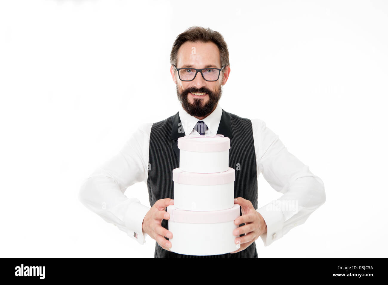 Offer bonus to your client. Man bearded businessman formal wear holds pile of gift boxes white background. Banking bonus benefits. Celebrate corporate - Stock Image