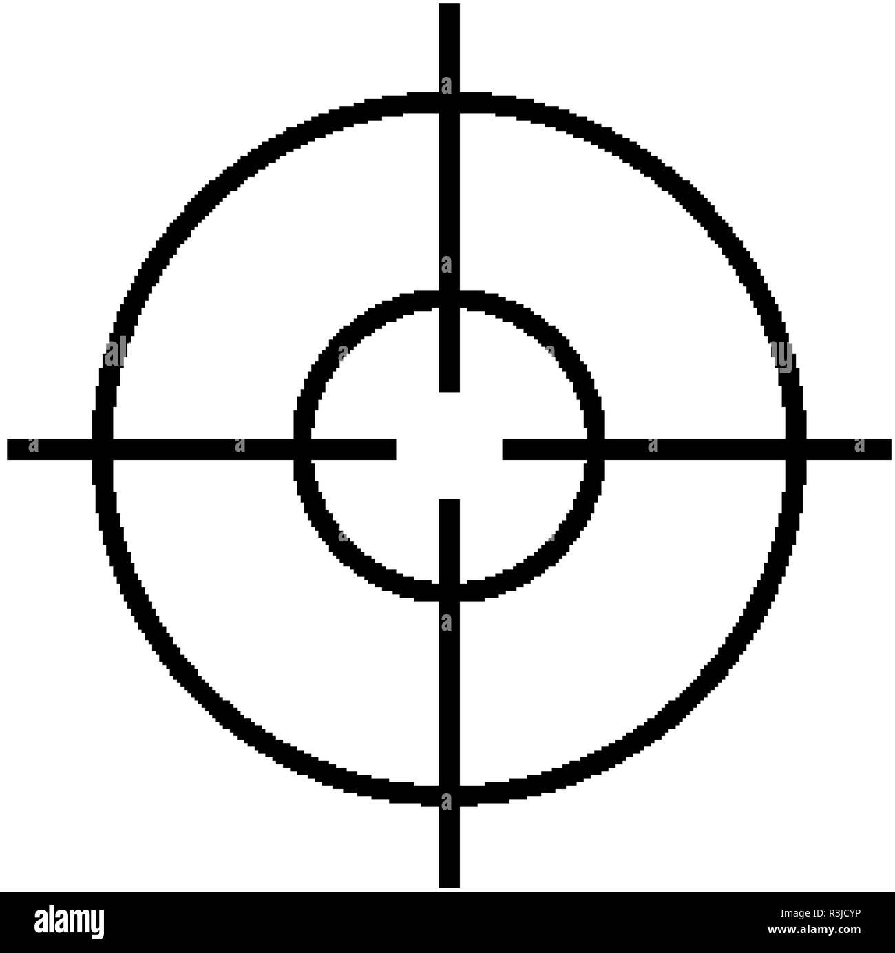 Military sniper rifle scope collimator sight icon Stock Vector