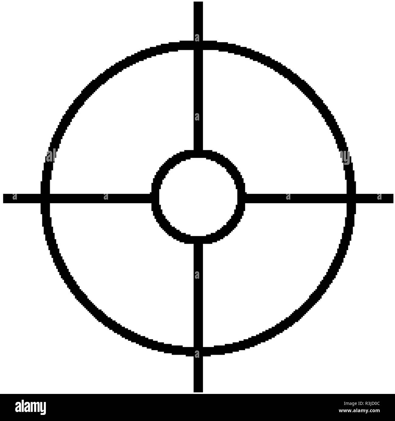 Military sniper rifle scope collimator sight icon Stock Vector