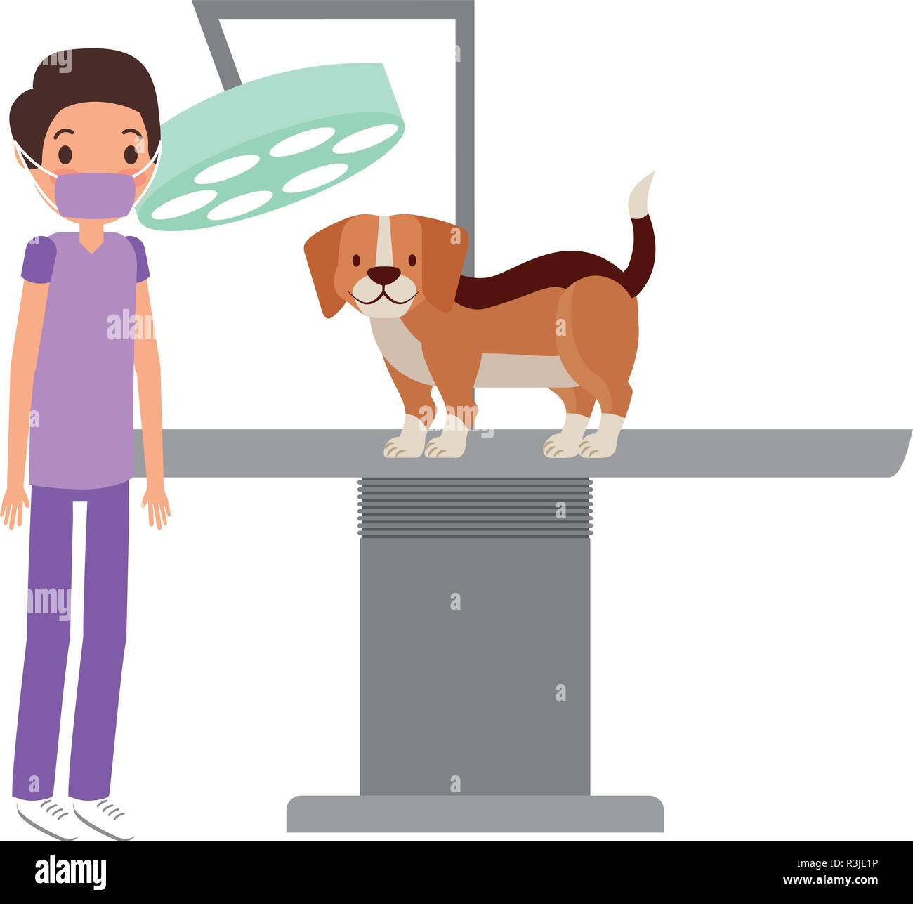 veterinary doctor surgery dog clinic petcare vector illustration - Stock Vector