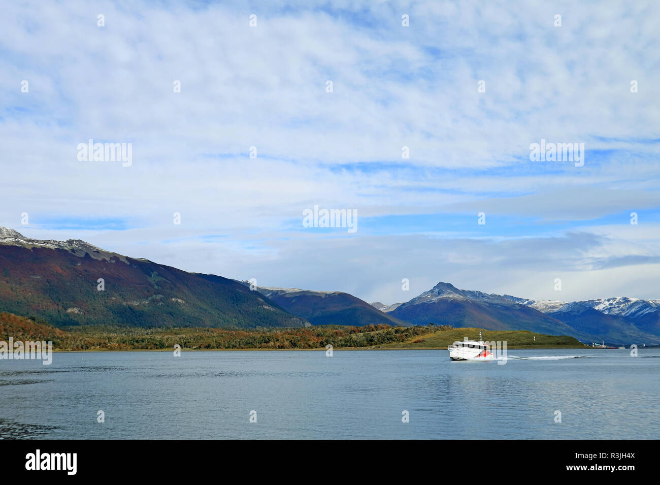 White cruise ship cruising the Beagle channel in early autumn, Ushuaia, Tierra del Fuego, Argentina - Stock Image