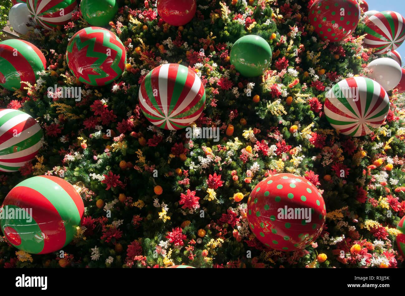 Sydney Australia Close Up Of Christmas Tree Decorations In Martin Place Stock Photo Alamy
