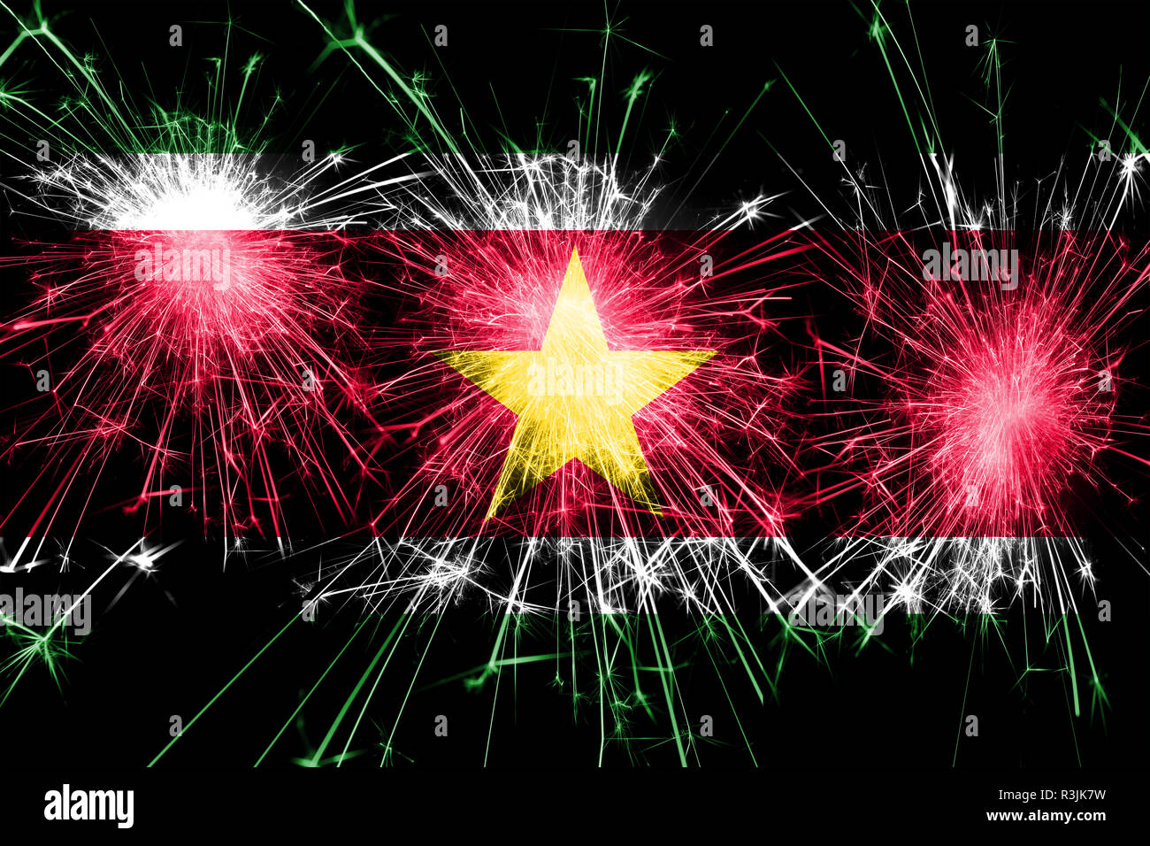 Suriname fireworks sparkling flag. New Year, Christmas and National day concept - Stock Image