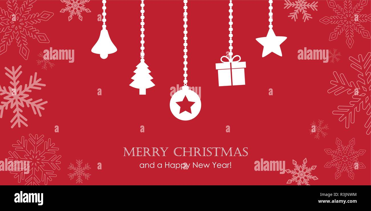 red christmas greeting card with snowflake border and hanging decoration bell fir gift star vector illustration eps10