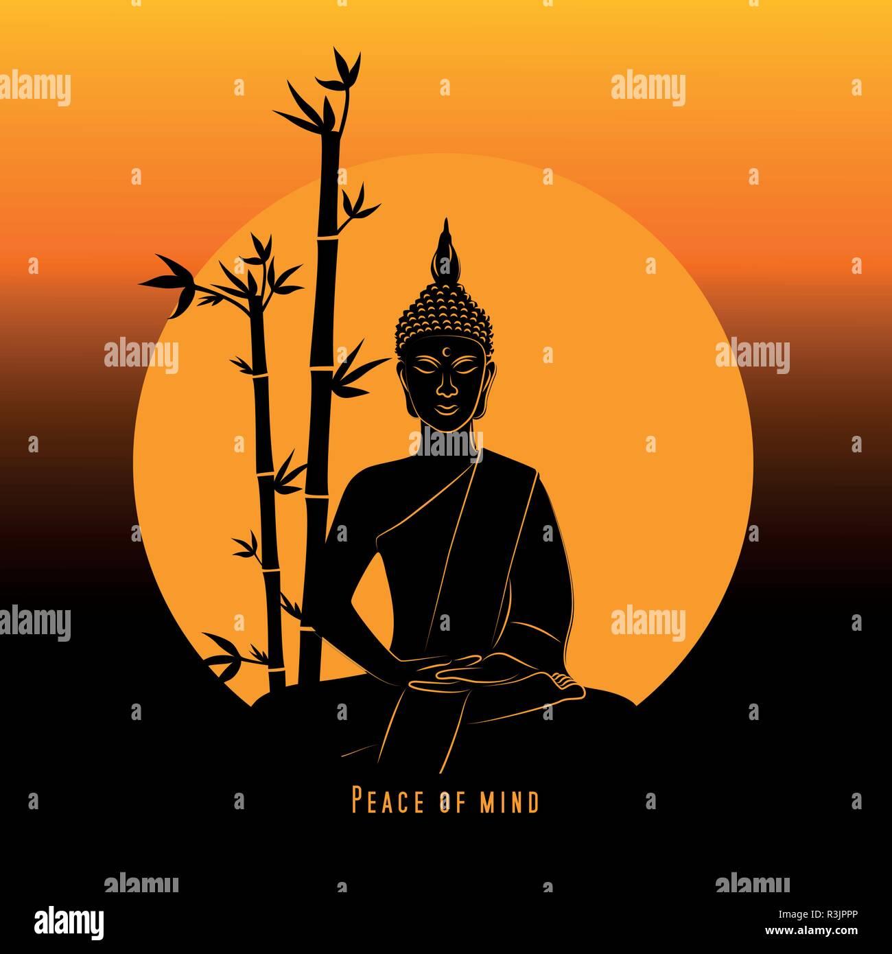 Peace Of Mind Buddha Meditation At Sunset Vector Illustration Eps10 Stock Vector Image Art Alamy