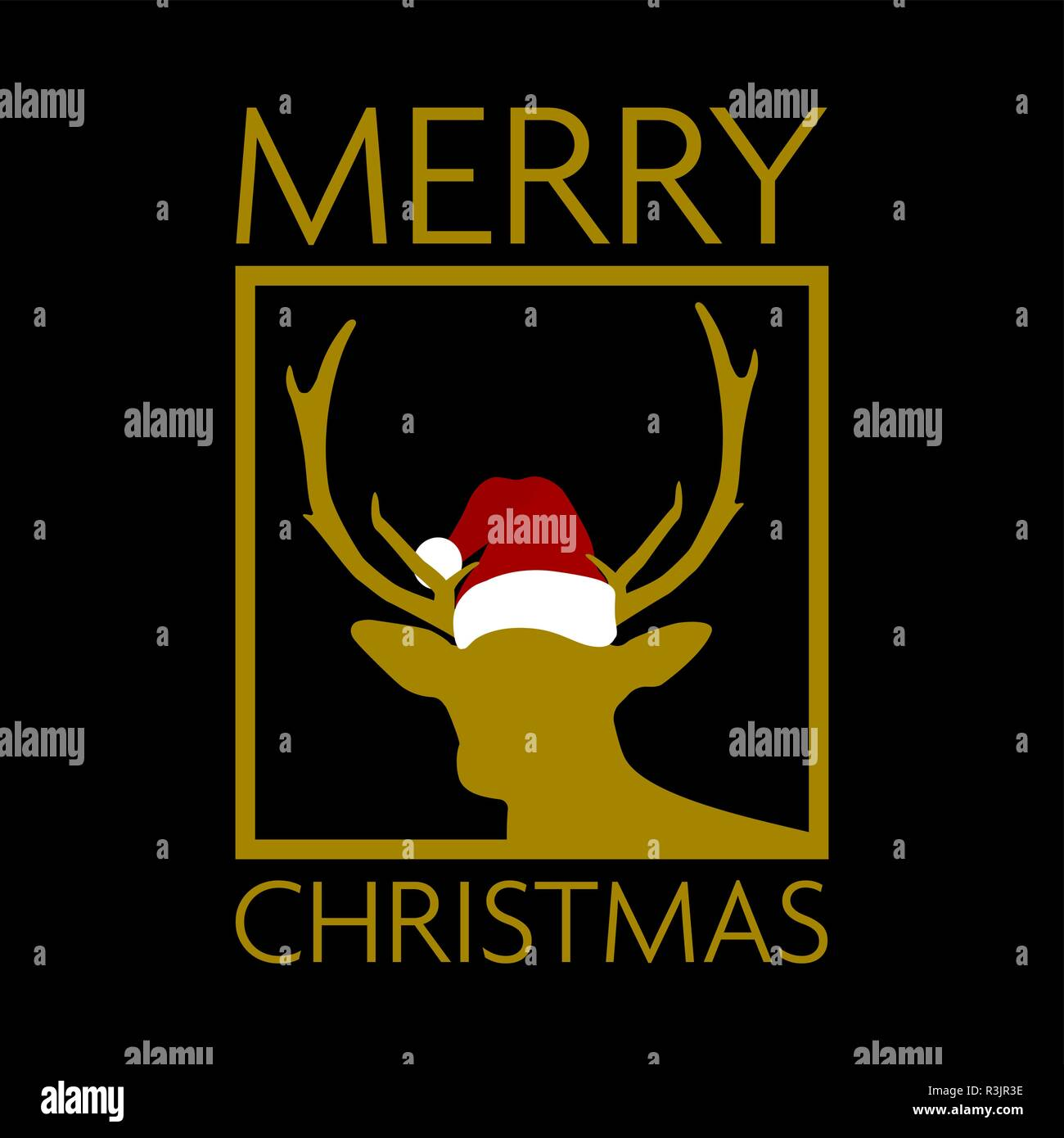 cc5fd46796d black and gold christmas card with reindeer silhouette wearing santa hat -  Stock Vector