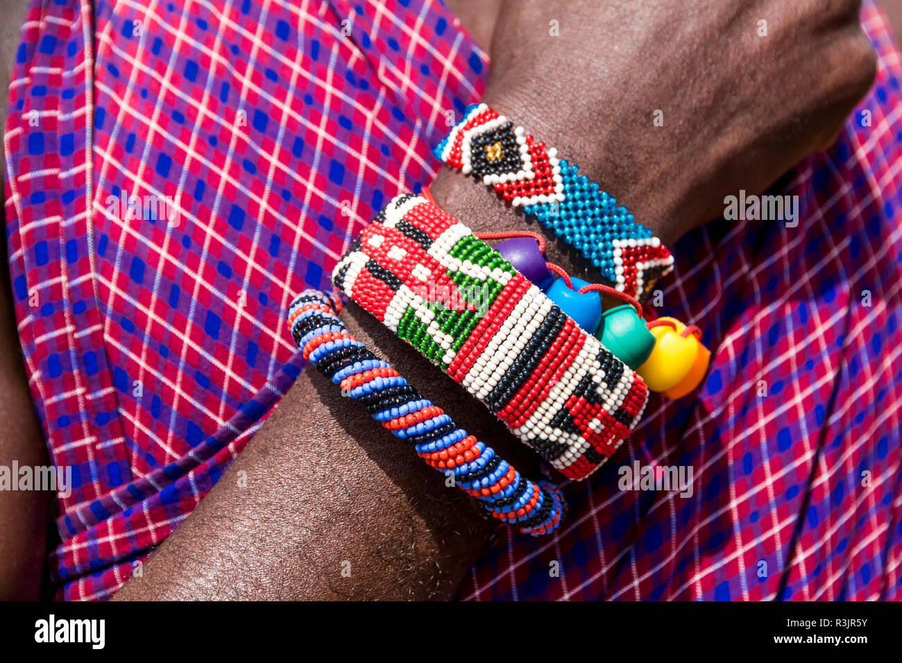 Africa, Kenya, Masai Mara National Reserve, Mara Ashnil region. Masai tribal jewelry and ornamentation. - Stock Image