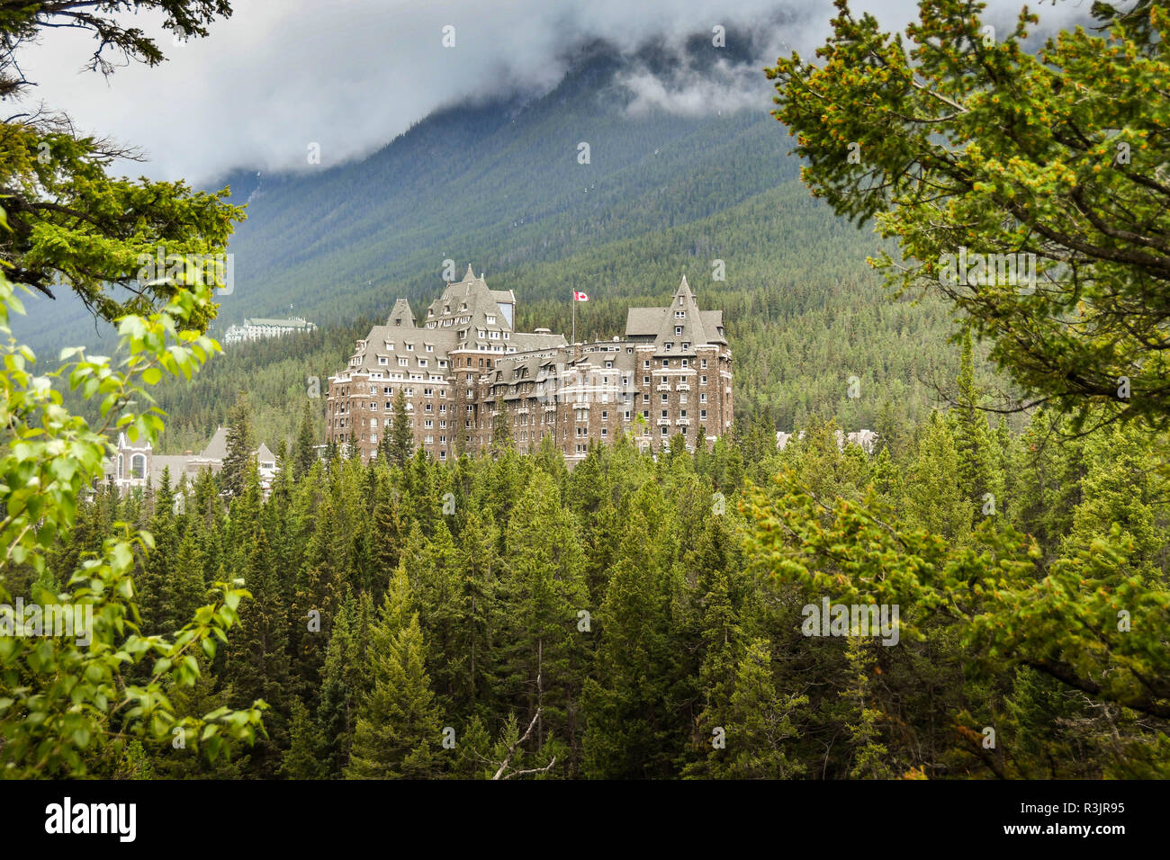 BANFF, AB, CANADA - JUNE 2018: Scenic view of the Banff Springs Fairmont Hotel framed by evergreen trees. - Stock Image