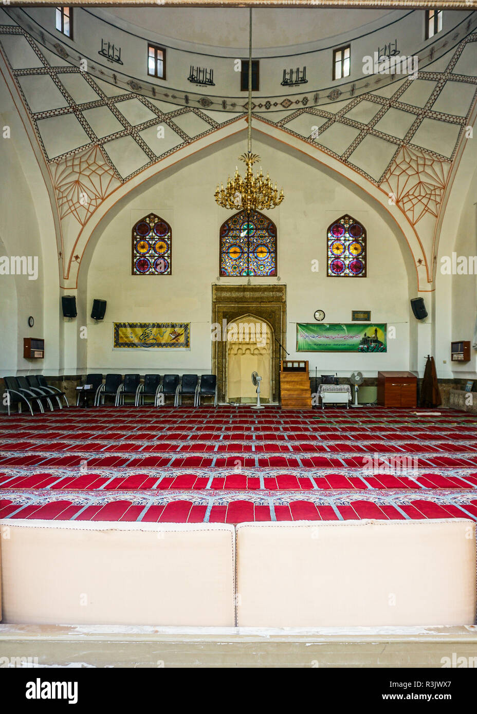 Yerevan Central Blue Mosque Interior View of Mihrab and Carpets - Stock Image