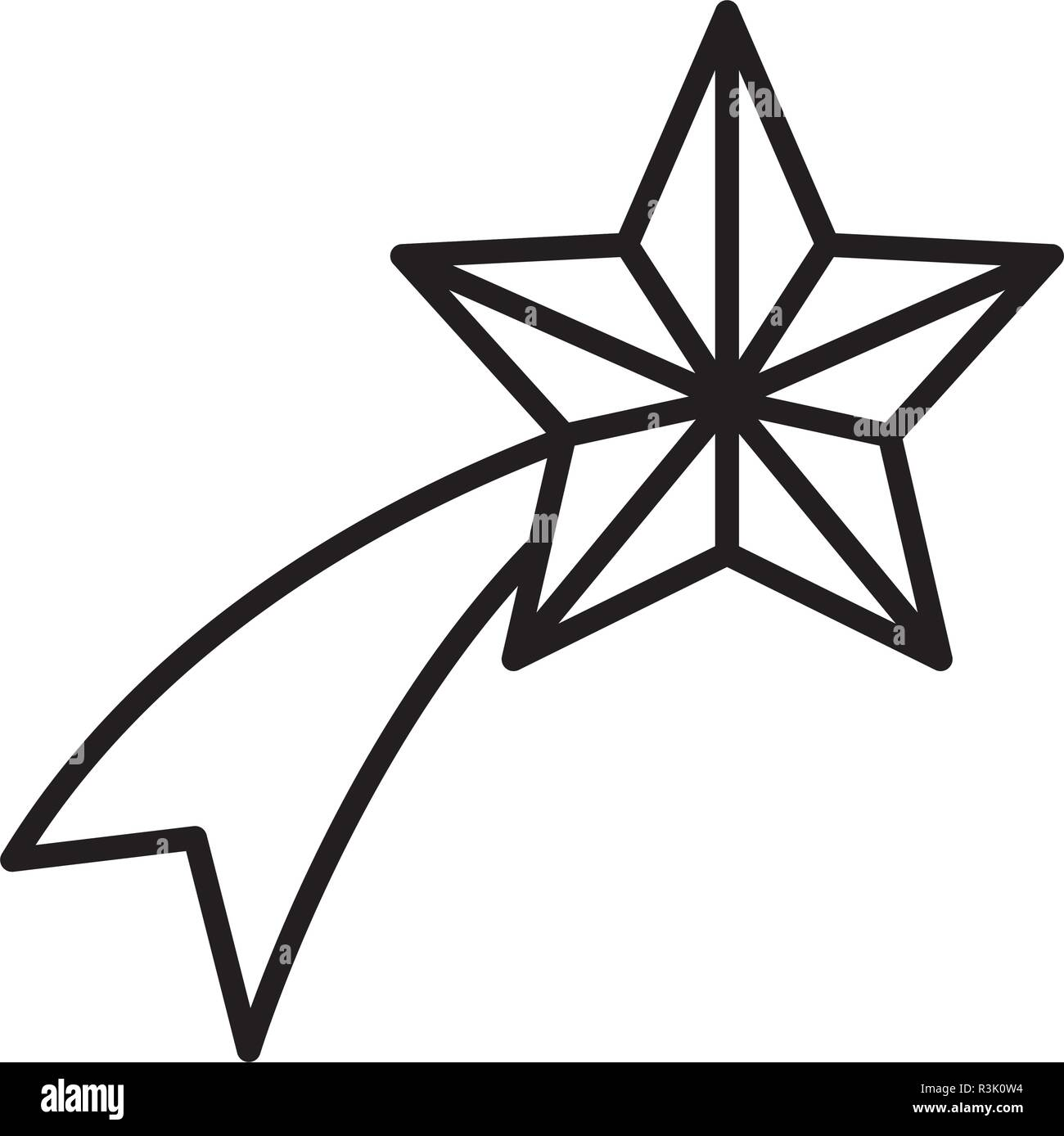 Shooting star icon over white background, vector illustration Stock Vector