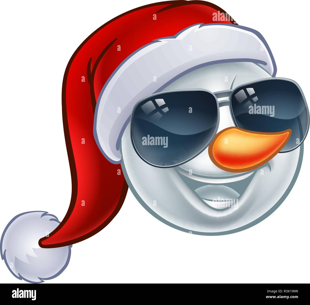 Cool Christmas.Cool Christmas Snowman Santa Hat Sunglasses Emoji Stock Vector Art