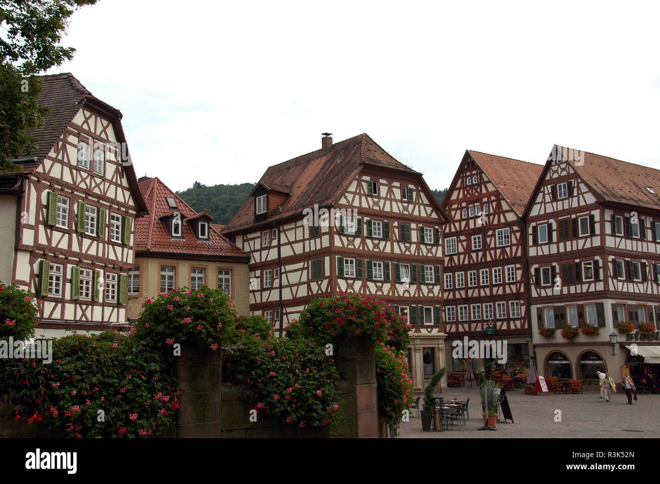 half-timbered houses on the market square in mosbach / baden Stock Photo