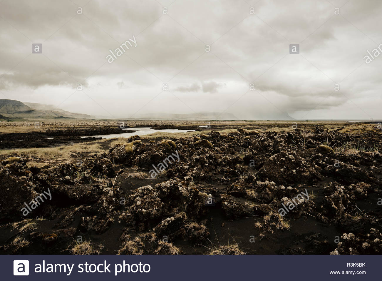 The empty moss covered volcanic lava fields in the south of Iceland. - Stock Image