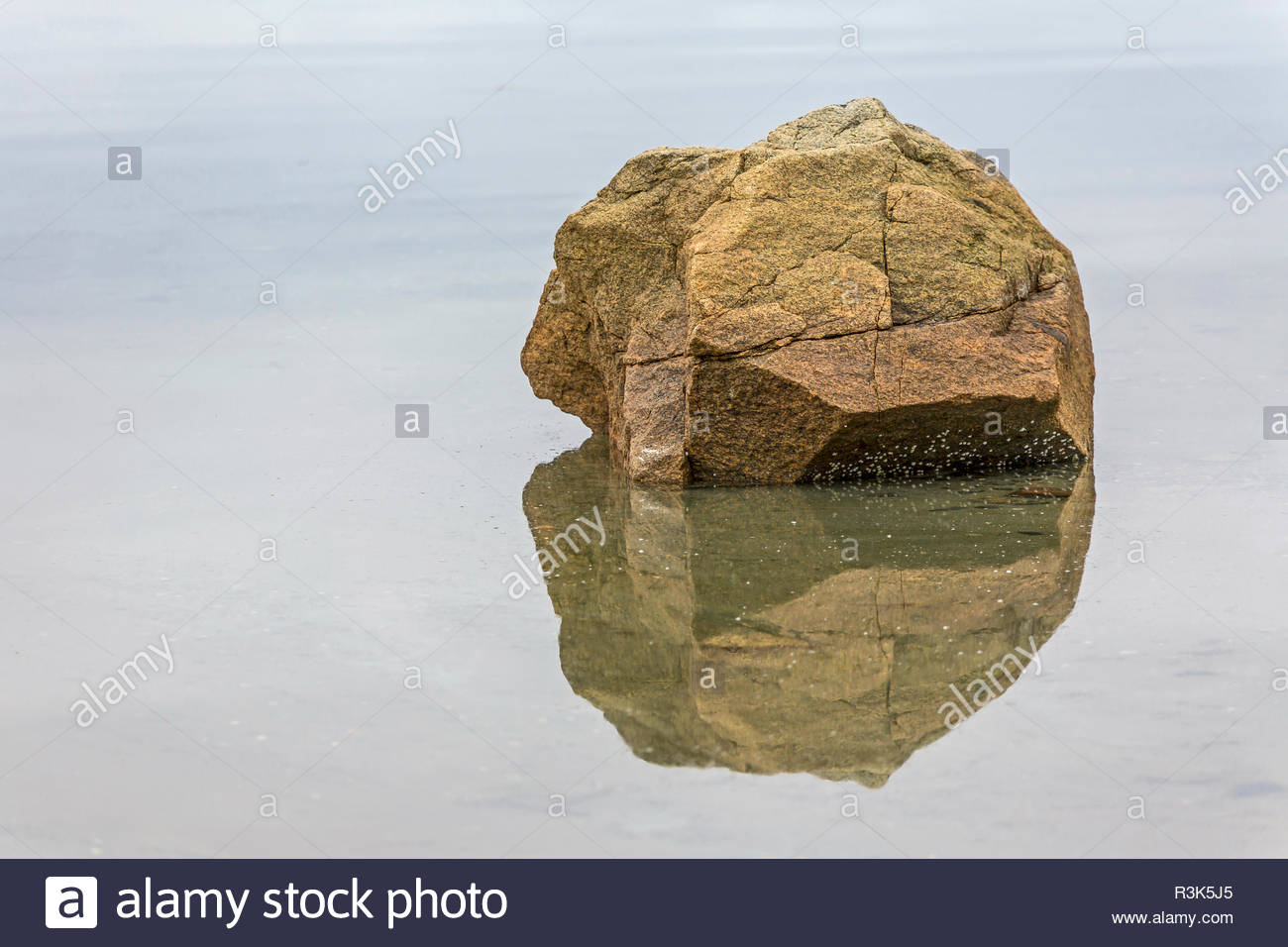 rock with reflection Stock Photo