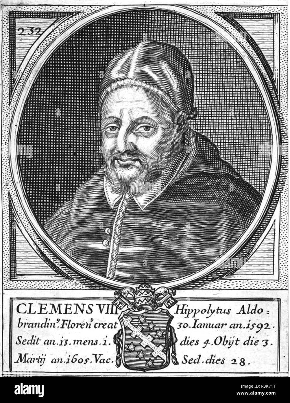 POPE CLEMENT III (1130-1191) born Paulino Scolari - Stock Image