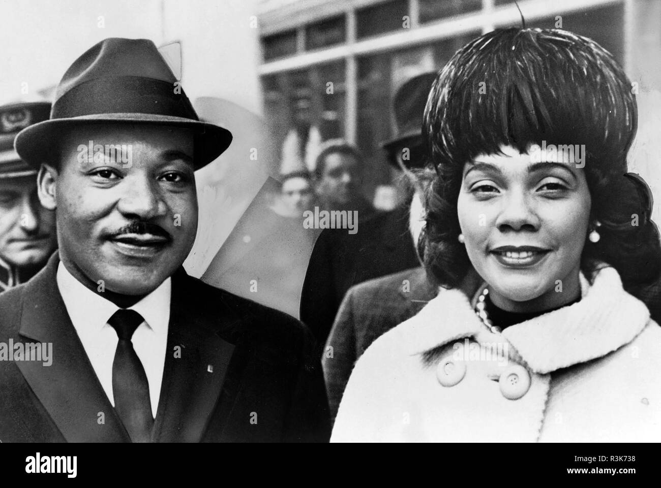 MARTIN LUTHER KING (1929-1968) American civil rights leader with his wife Coretta about 1962 Stock Photo