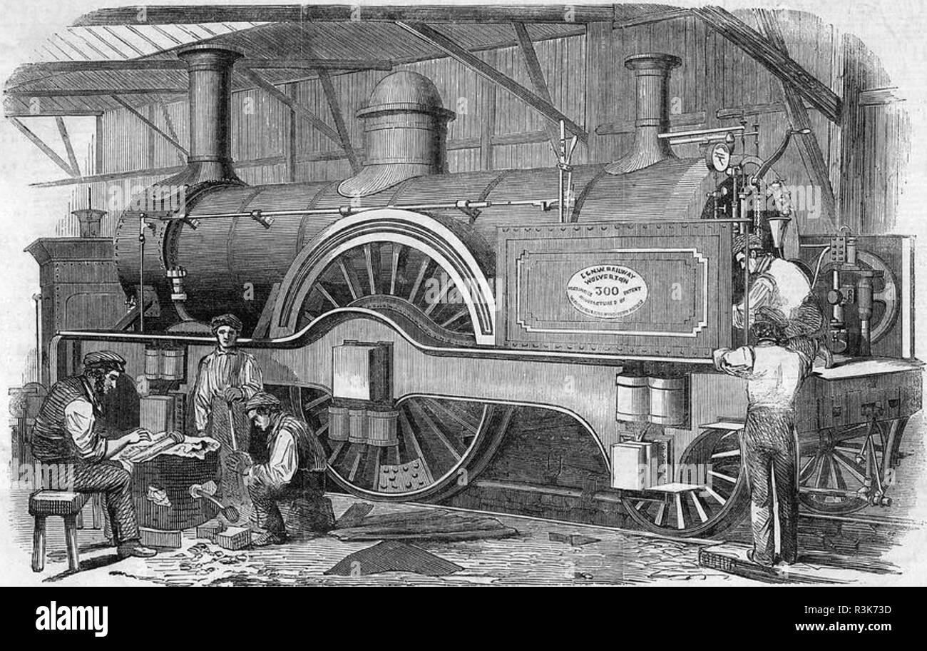 JAMES EDWARD McCONNELL (1815-1883) Irish railway engineer. An 1852 engraving showing his Bloomer Class  engine with 7ft driving wheels being built for the London & North-Western Railway - Stock Image