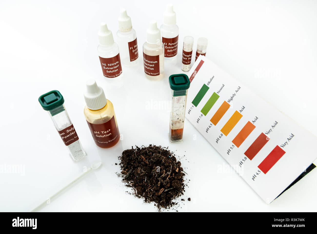 Soil Testing Kit with chemicals for testing potassium