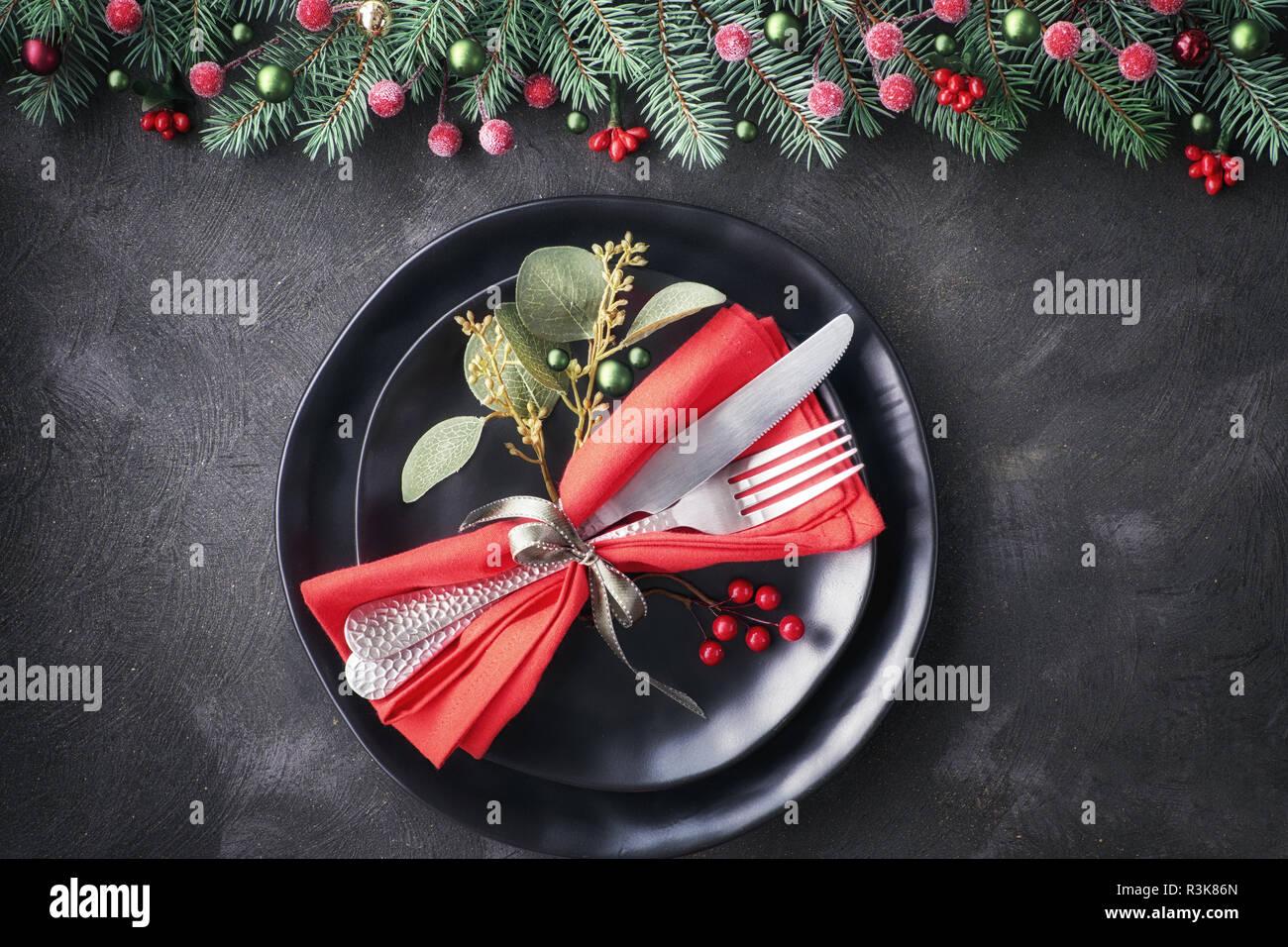Christmas Setups.Christmas Table Setup On Dark Background Flat Lay With Xmas