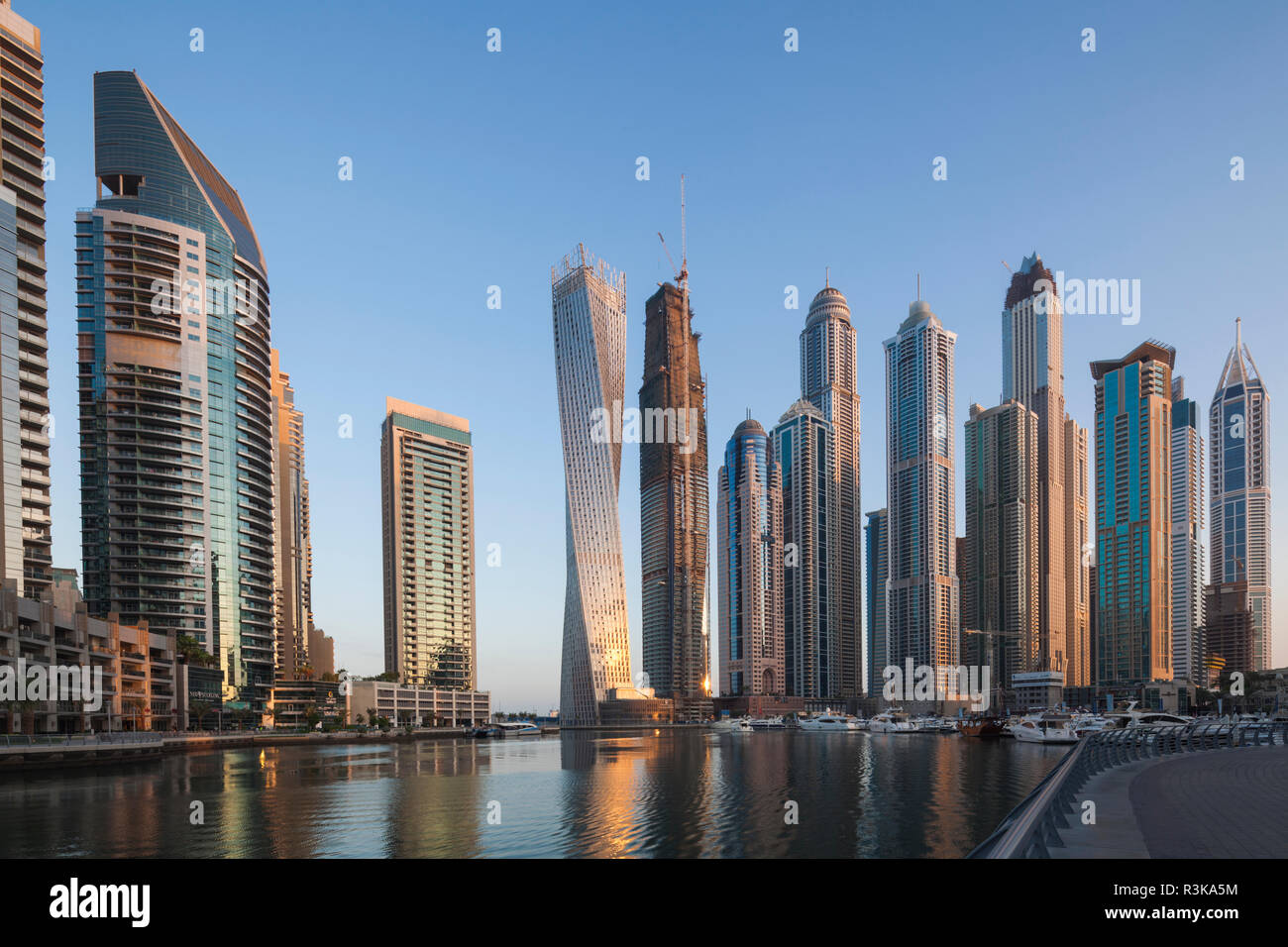 UAE, Dubai Marina high-rise buildings including the twisted Cayan Tower - Stock Image