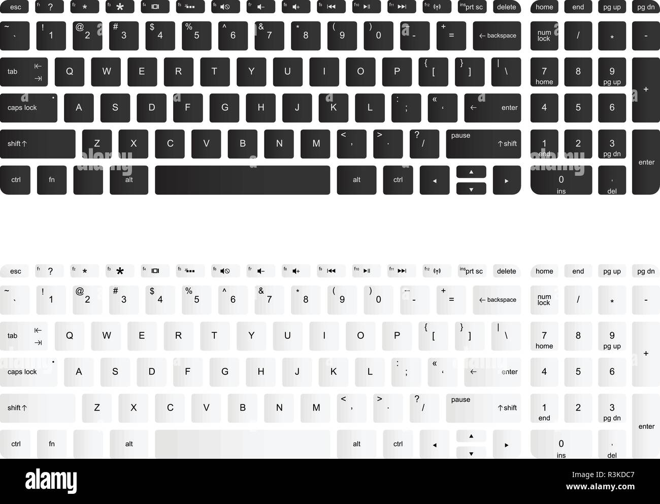 Computer keyboard vector isolated illustration. Black and white version - Stock Image