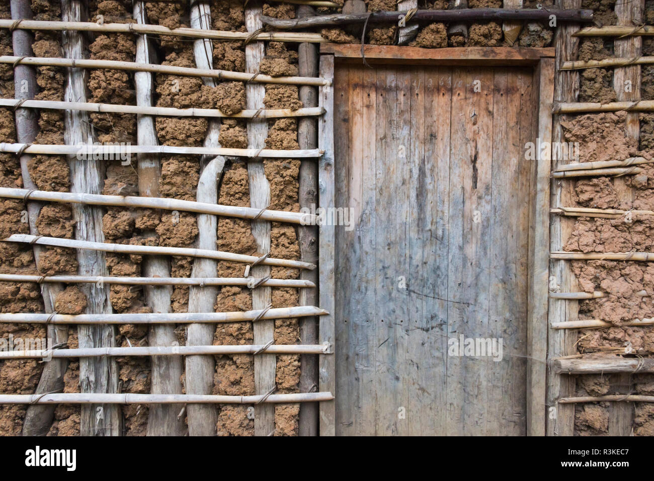 Door of local people's village house, Rwanda - Stock Image