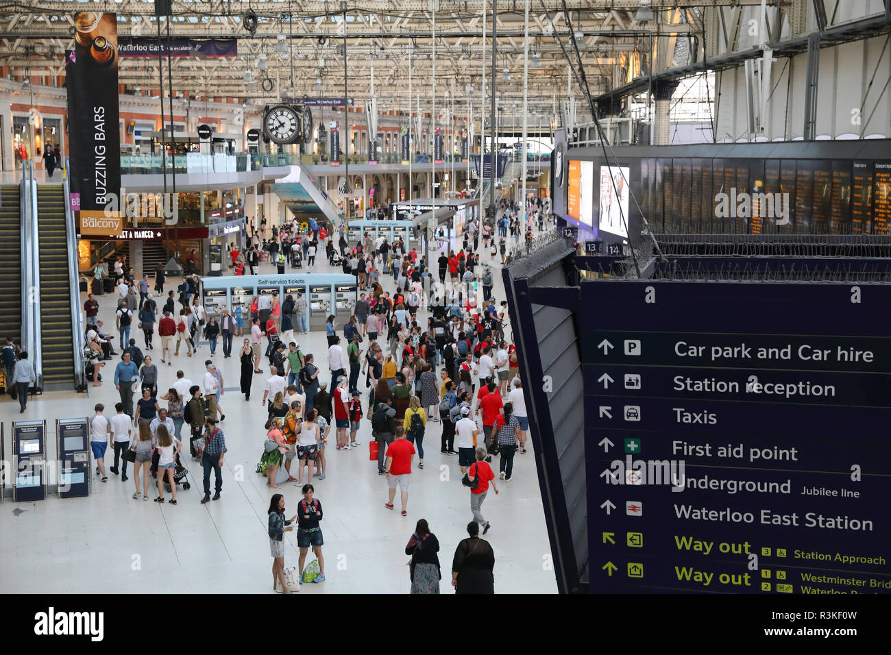 Busy Waterloo station, a key hub for trains to the south and south-west, in London, UK - Stock Image