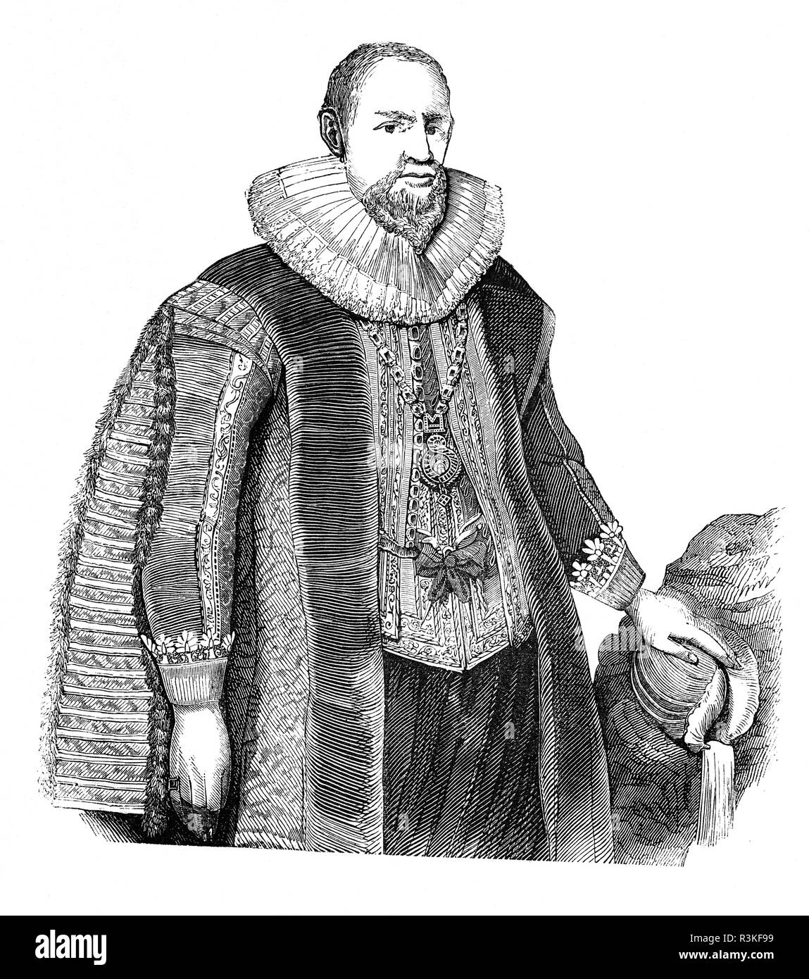 Sir Hugh Myddelton (or Middleton), 1st Baronet (1560-1631) was a Welsh clothmaker, entrepreneur, mine-owner, banker, self-taught engineer and became a successful goldsmith and was appointed Royal Jeweller by King James I. In 1603 succeeded his father as MP for Denbeigh Boroughs, which he remained until 1628. Myddelton is, however, best remembered as the driving force behind the construction of the New River, an ambitious engineering project to bring clean water from the River Lea, near Ware, in Hertfordshire to New River Head, London constructed between 1608 and 1613. - Stock Image