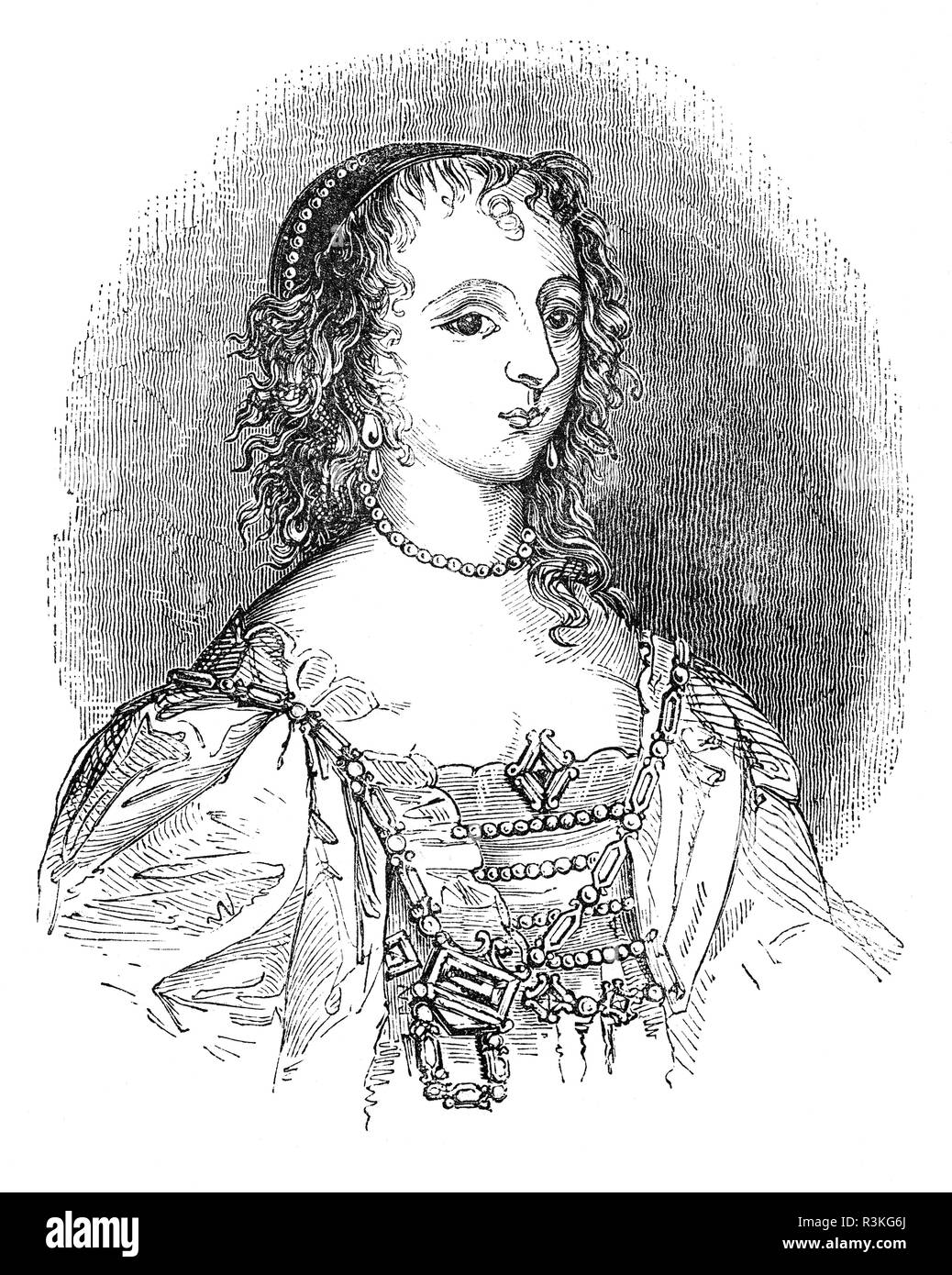 Henrietta Maria of France (1609-1669) was queen consort of England, Scotland, and Ireland as the wife of King Charles I. She was mother of his two immediate successors, Charles II and James II/VII. Contemporaneously, by a decree of her husband, she was known in England as Queen Mary, but did not like this name and signed her letters 'Henriette R'.  Her Roman Catholicism made her unpopular in England and prohibited her from being crowned in a Church of England service; therefore she never had a coronation. When civil war loomed on the horizon, and was compelled to seek refuge in France in 1644. - Stock Image
