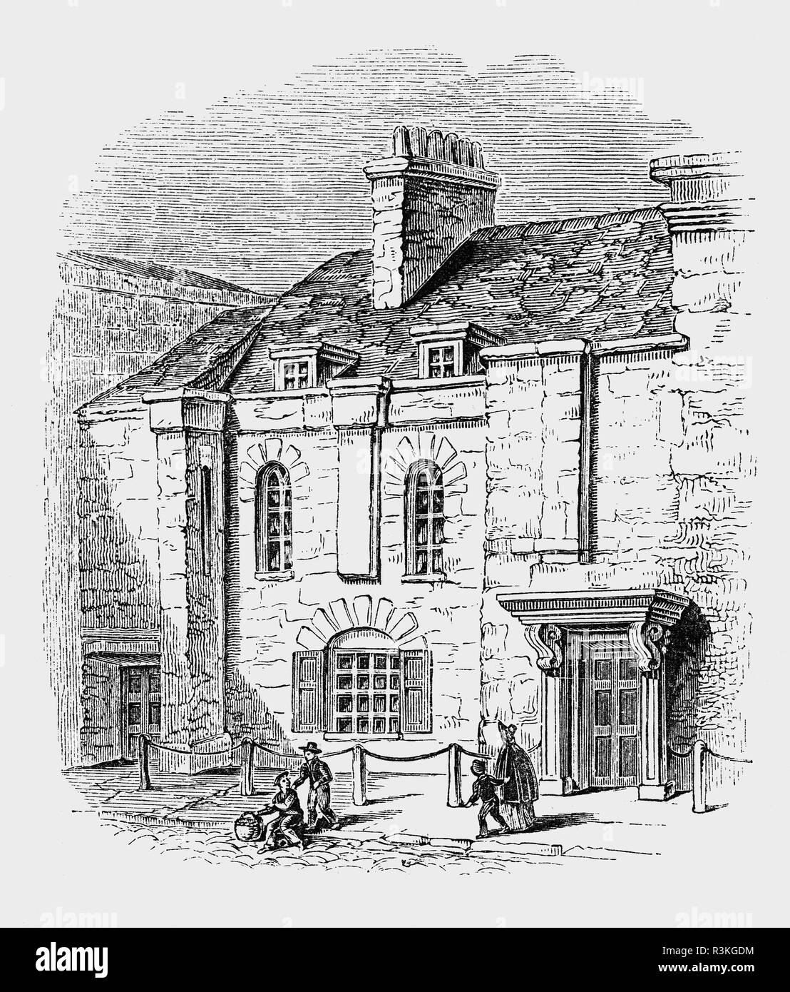 The Greyhound Pub  in Portsmouth, where George Villiers, 1st Duke of Buckingham,(1592-1628),  English courtier, statesman was stabbed him to death, on 23 August 1628. The assassin was John Felton, an army officer who had been wounded in the earlier military adventure and believed he had been passed over for promotion by Buckingham. He was a favourite and possibly  lover of King James I of England. He remained at the height of royal favourduring the reign of King Charles I until he died. - Stock Image