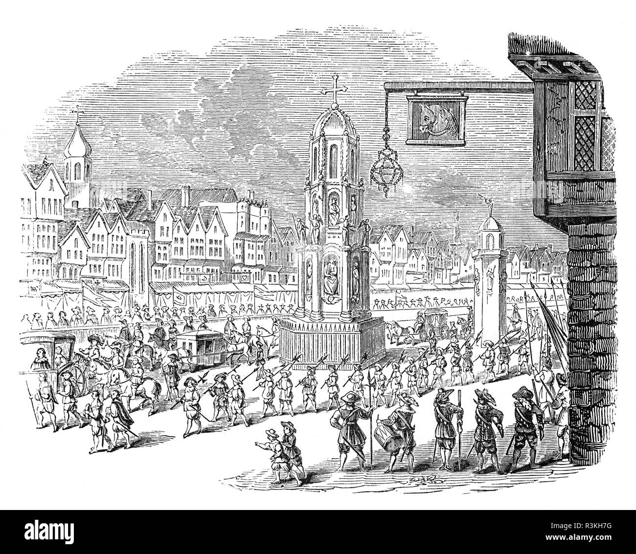 The procession through Cheapside in London of Marie de' Medici, Queen of France to her daughter Henrietta Maria of France, queen consort of England, Scotland, and Ireland and her husband King Charles I. - Stock Image